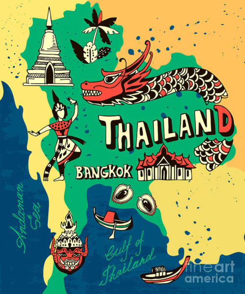Wall Art - Digital Art - Illustrated Map Of Thailand by Daria i