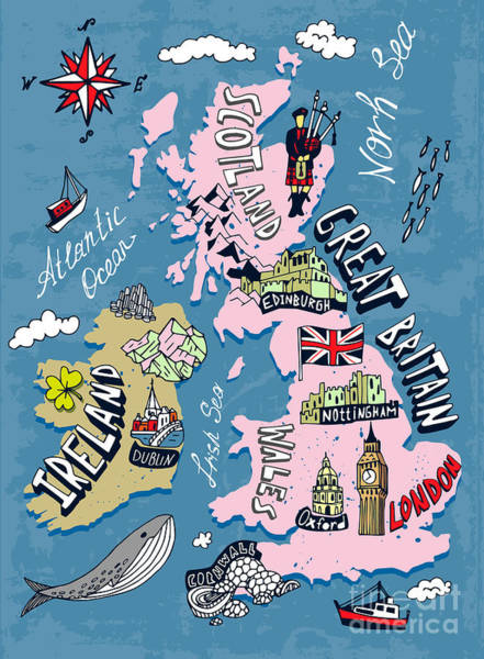 Wall Art - Digital Art - Illustrated Map Of The Uk And Ireland by Daria i