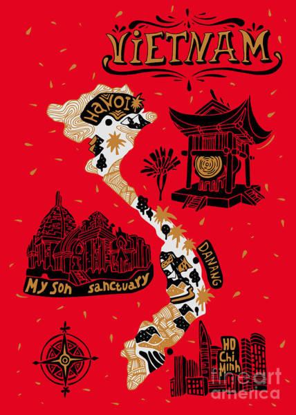 Wall Art - Digital Art - Illustrated Map Of Vietnam by Daria i