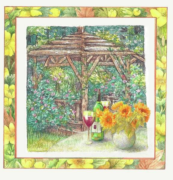 Painting - Illustrated Sunflower Picnic by Judith Cheng