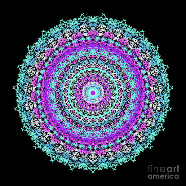 Digital Art - Illustration, Complex Mandala Style Radial Rendering, Abstract Lace Flowers In Blue And Purple Tones. by Joaquin Corbalan