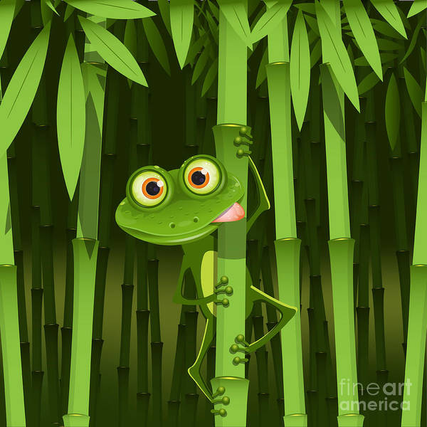 Paw Digital Art - Illustration, Curious Frog On Stem Of by Brux