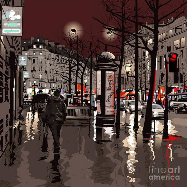 Wall Art - Digital Art - Illustration Of A Boulevard In Paris At by Isaxar