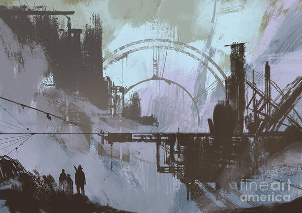 Power Station Wall Art - Digital Art - Illustration Of A Dark City,digital by Tithi Luadthong
