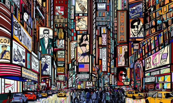 Illustration Of A Street In New York Art Print