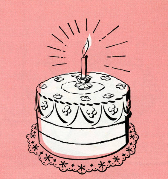 Candles Digital Art - Illustration Of Birthday Cake by Graphicaartis