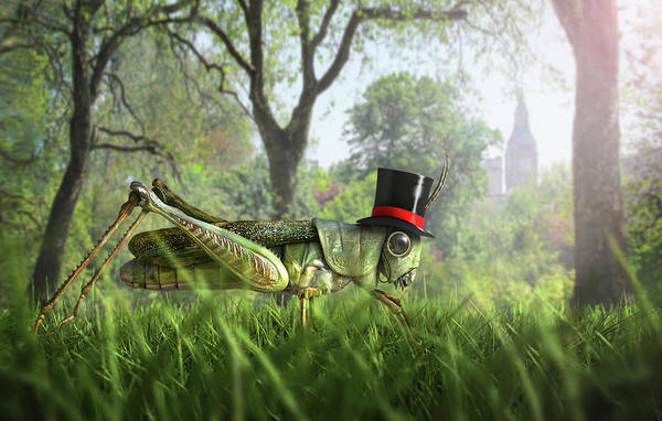 Grass Tree Digital Art - Illustration Of Cricket Wearing Monocle by Chris Clor