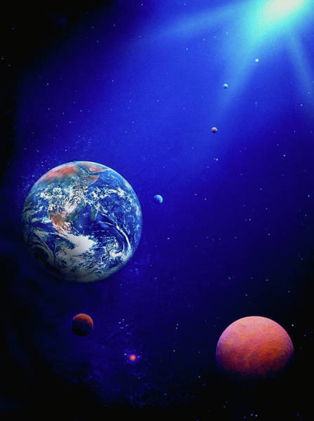 Color Image Digital Art - Illustration Of Earth & Space by Ron Russell