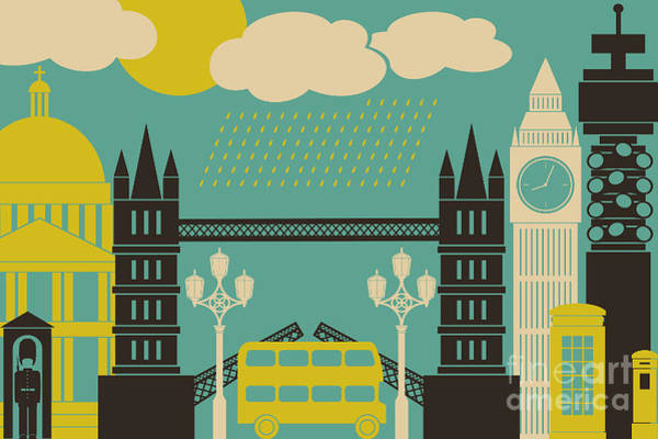 Wall Art - Digital Art - Illustration Of London Symbols And by Iveta Angelova