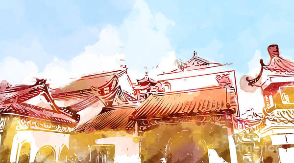 Town Digital Art - Illustration Of Malaysia Chinese by Samantha Cheah