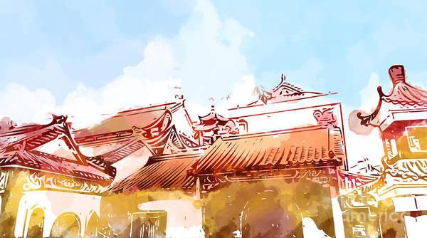 Pagoda Wall Art - Digital Art - Illustration Of Malaysia Chinese by Samantha Cheah