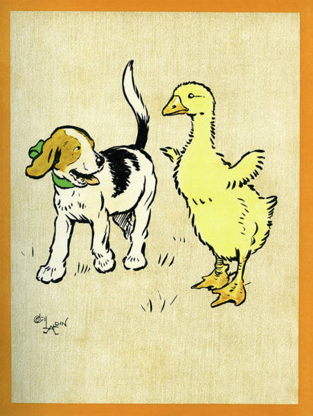 Goslings Mixed Media - Illustration Of Puppy And Gosling by Cecil Aldin