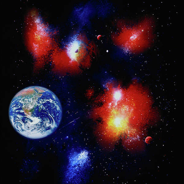 Color Image Digital Art - Illustration Of Space & Earth by Ron Russell