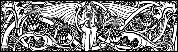 Wall Art - Drawing - Illustration Of Woman Playing Lyre by Ephraim Moses Lilien