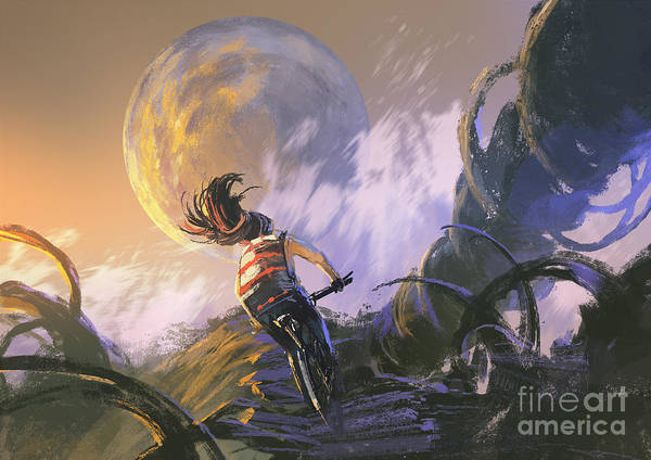 Wall Art - Digital Art - Illustration Painting Of Cyclist Riding by Tithi Luadthong