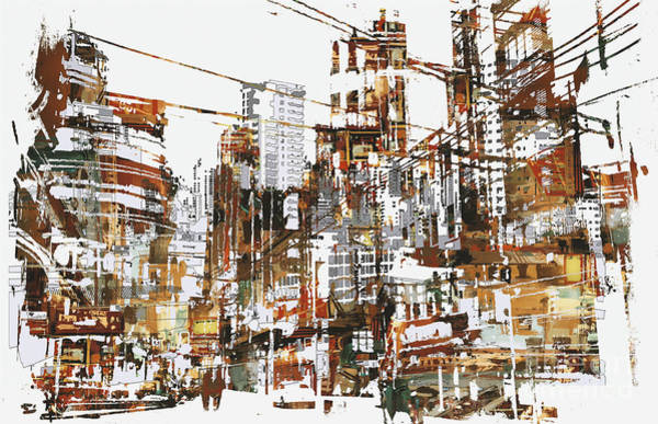 Wall Art - Digital Art - Illustration Painting Of Urban City by Tithi Luadthong