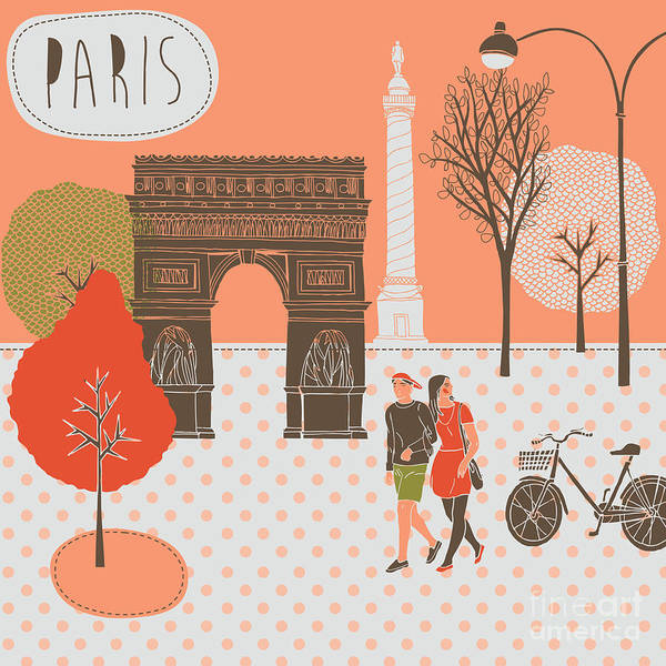 Wall Art - Digital Art - Illustration With Paris, France by Lavandaart