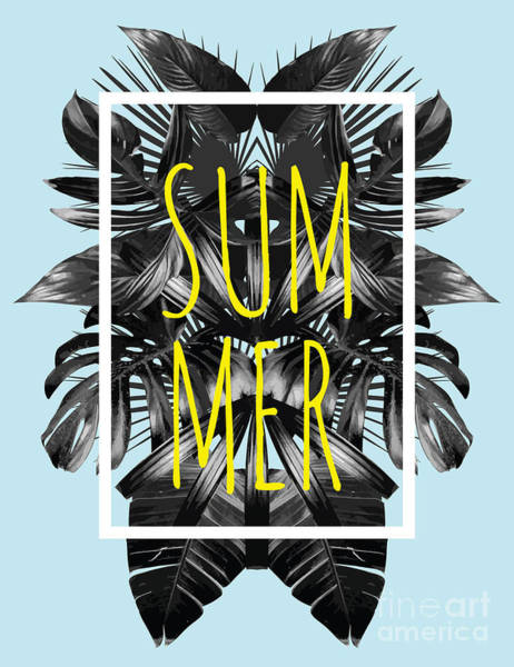 Border Wall Art - Digital Art - Illustration Word Slogan Summer In A by Berry2046