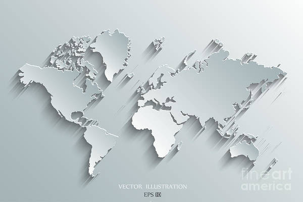 East Asia Wall Art - Digital Art - Image Of A Vector World Map by Juliann