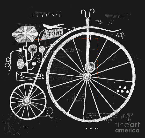Wall Art - Digital Art - Image Of An Old Bicycle With A Large by Dmitriip