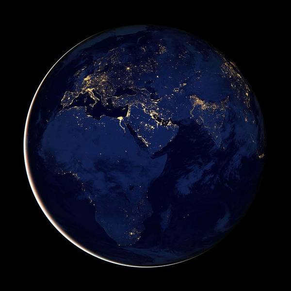 Wall Art - Painting - Image Of Europe, Africa, And The Middle East At Night. Original From Nasa by Celestial Images
