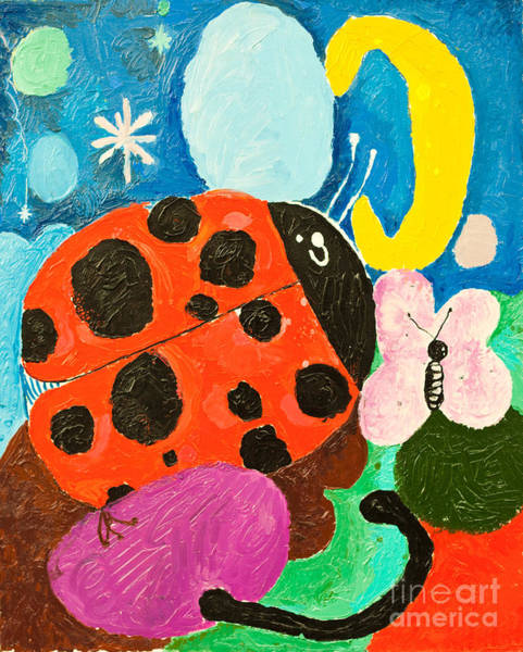 Wall Art - Digital Art - Image Of Ladybug And A Butterfly by Dmitriip