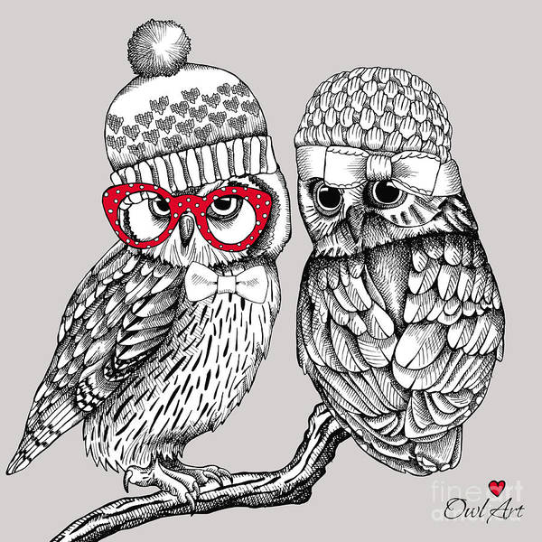 Valentines Digital Art - Image Of Two Owls In Knitted Hats by Afishka