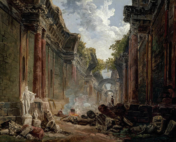Wall Art - Painting - Imaginary View Of The Grande Galerie In The Louvre In Ruins by Hubert Robert