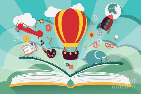 Celebration Digital Art - Imagination Concept - Open Book With by Bluelela