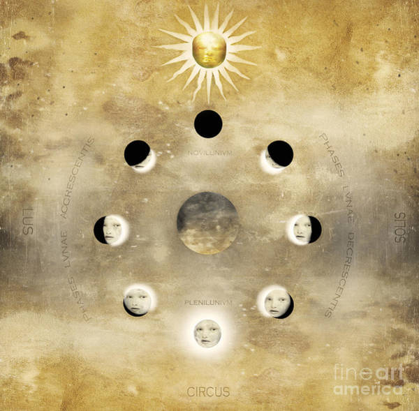 Wall Art - Photograph - Imagine Of The Lunar Phases With Sun by Valentina Photos