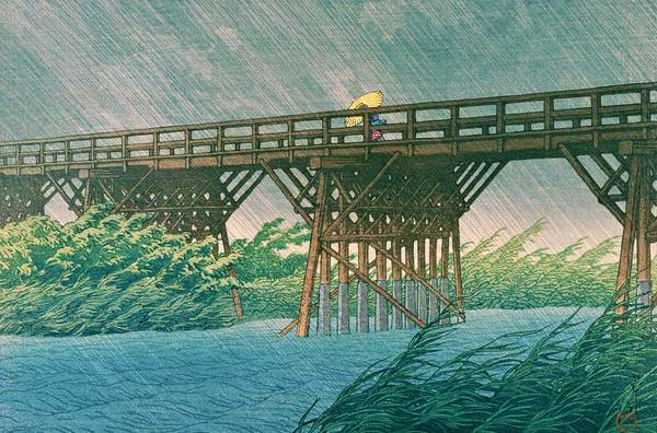 Wall Art - Painting - Imaibashi Shower - Top Quality Image Edition by Kawase Hasui