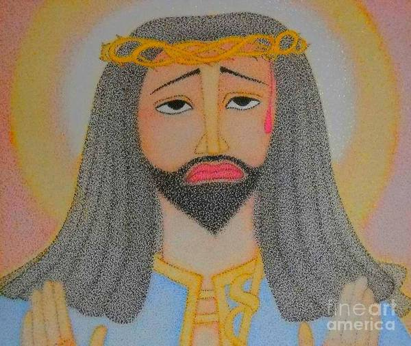 Crown Imperial Painting - Imperial Icon Of Ethiopia  by Assumpta Tafari Tafrow Neo-Impressionist Works on Paper