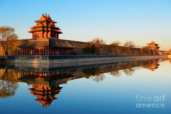 Wall Art - Photograph - Imperial Palace Over Lake In The by Songquan Deng