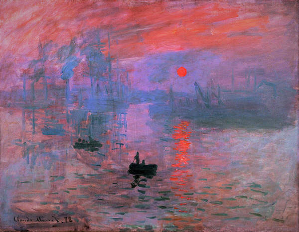 Riverbed Painting - Impression, Sunrise - Original Redcolor Edition by Claude Monet
