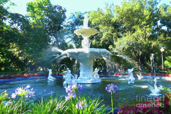 Digital Art - Impressionist Forsyth Park Fountain by Amy Dundon