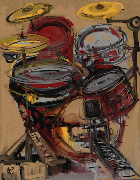 Wall Art - Mixed Media - Impressionistic Drums by Russell Pierce