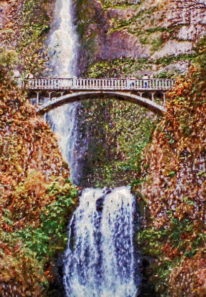 Digital Art - Impressions Of Multnomah Falls by Glenn McCarthy Art and Photography