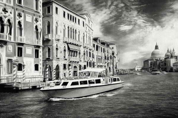 Italia Photograph - Impressions Of The Grand Canal Venice Italy Black And White by Carol Japp