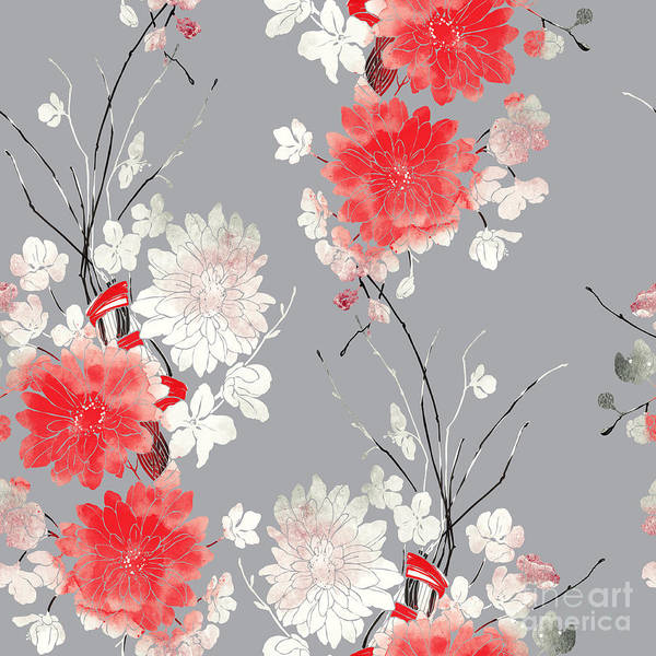 Wall Art - Digital Art - Imprints Sakura And Chrysanthemum. Hand by Liia Chevnenko