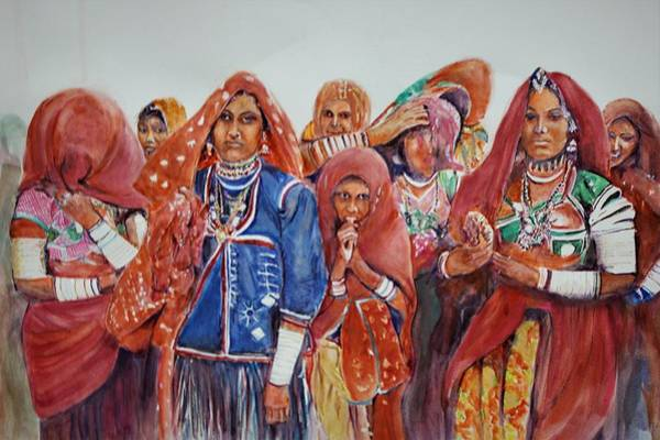 Wall Art - Painting - In A Desert Function by Khalid Saeed