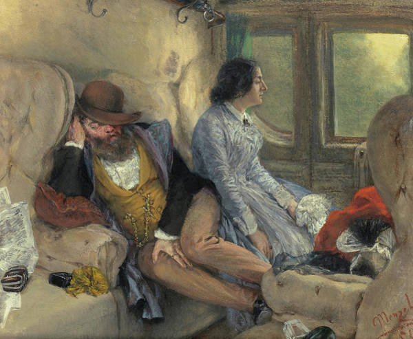 Wall Art - Painting - In A Railway Carriage by Adolph von Menzel