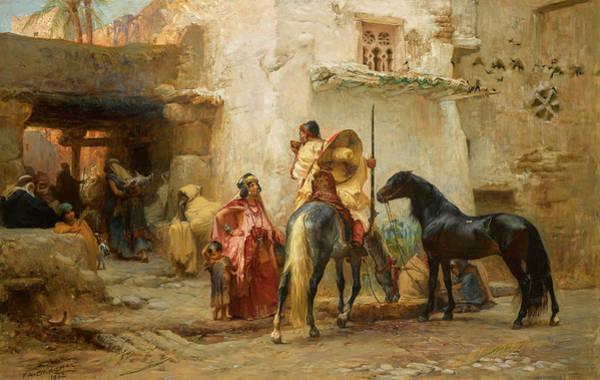 Wall Art - Painting - In An Algerian Street, 1882 by Frederick Arthur Bridgman