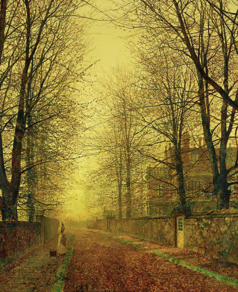 Wall Art - Painting - In Autumn's Golden Glow by John Atkinson Grimshaw