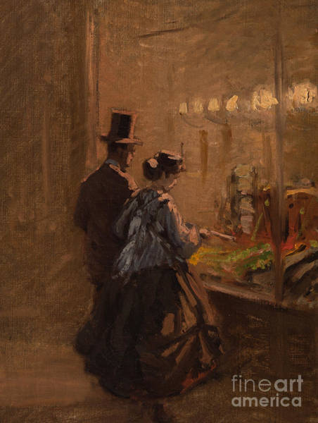 Wall Art - Painting - In Front Of A Shop Window, 1866 by Viktor Barvitius