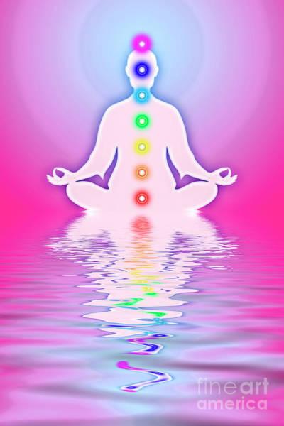 Wall Art - Digital Art - In Meditation With Chakras - Pink Ocean by Dirk Czarnota