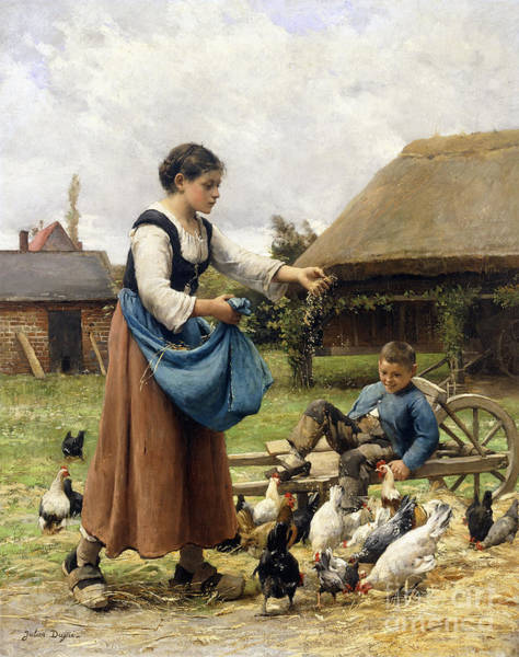 Wall Art - Painting - In The Farmyard by Julien Dupre