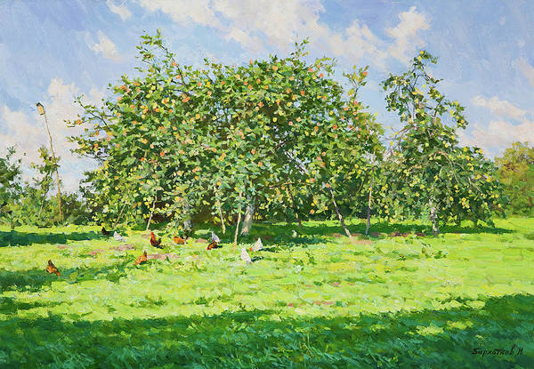 Russian Impressionism Wall Art - Painting - In The Garden by Igor Barkhatkov