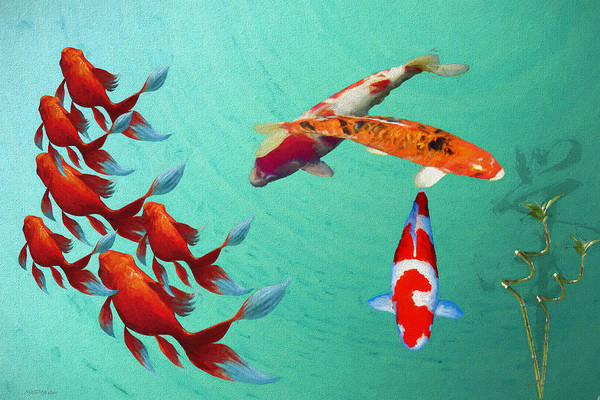 Painting - In The Koi Pond - Painting by Ericamaxine Price