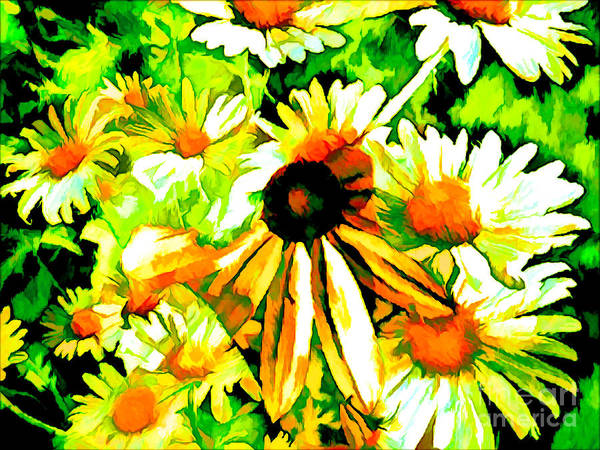 Mixed Media - In The Midst Of Daisies by Debra Lynch