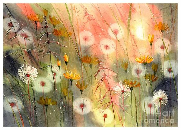 Gerbera Painting - In The Morning Haze by Suzann's Art